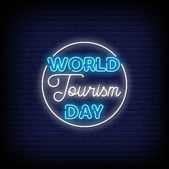 Sinais de néon do dia mundial do turismo estilo texto