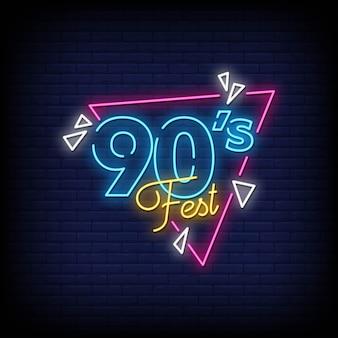 Sinais de néon do festival dos anos 90 estilo vetor de texto