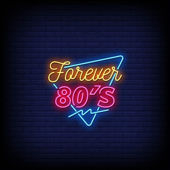 Sinais de néon do forever 80's