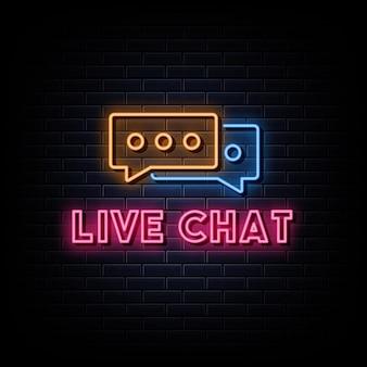 Sinais de néon do logotipo do chat ao vivo