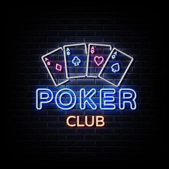 Sinais de néon do poker club na parede de tijolos pretos