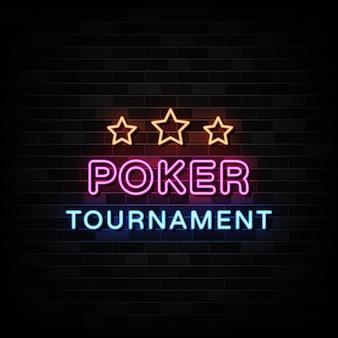 Sinais de néon do torneio de pôquer.