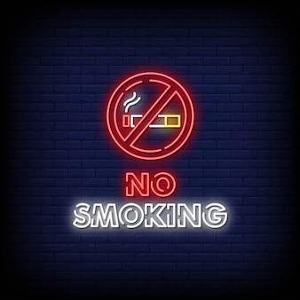 Sinais de néon não fumadores estilo texto
