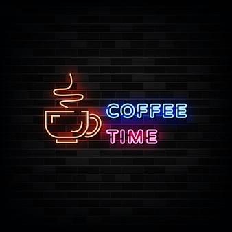 Sinais de néon para a hora do café