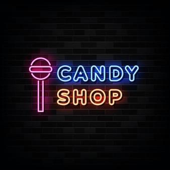 Sinais de néon para lojas de doces