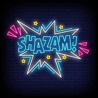 Sinais de néon shazam estilo texto