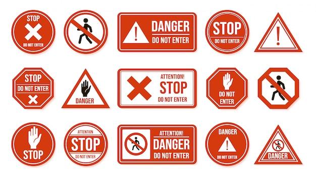 Sinais de parada de trânsito. não entre, avisando o sinal de trânsito. pare, sem admissão, ícones de instruções de condução de rua de caráter proibitivo. transporte proibido, símbolos de execução