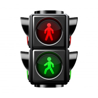 Sinais de pedestres vermelhos e verdes isolados no branco