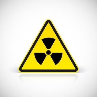 Sinais de perigo de radiação. símbolo em sinal triangular