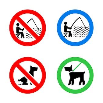 Sinais de proibição de cachorro e proibição de pesca