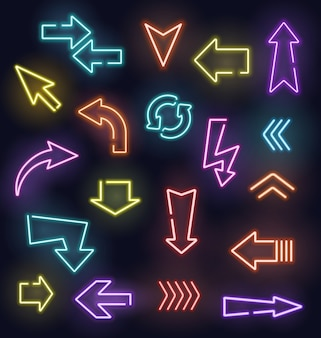 Sinais de seta de néon de ponteiros de luz brilhantes.