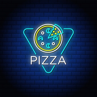 Sinais de texto de néon de pizza com parede de tijolo abstrato azul.