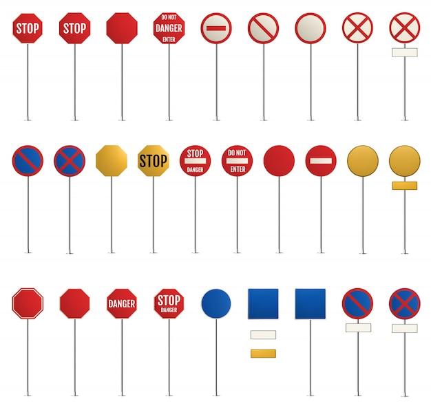 Sinais de trânsito. aviso em branco, perigo
