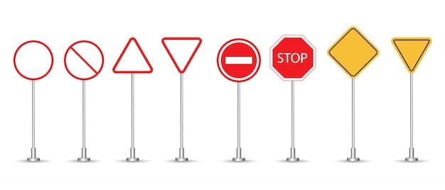 Sinais de trânsito definir ilustração isolado no branco