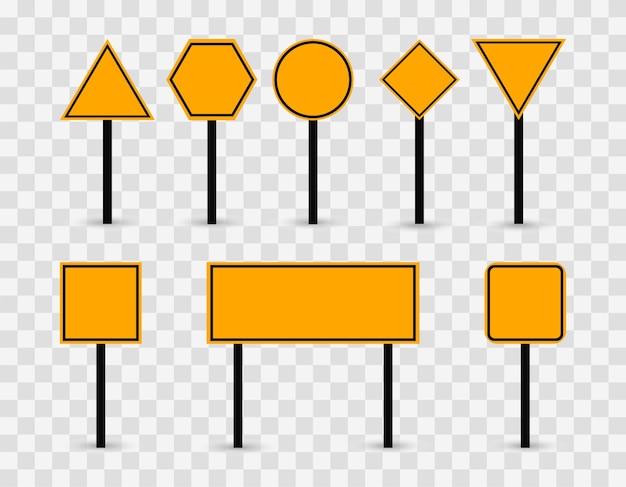 Sinais de trânsito em branco em amarelo. sinais de modelo em um fundo transparente.
