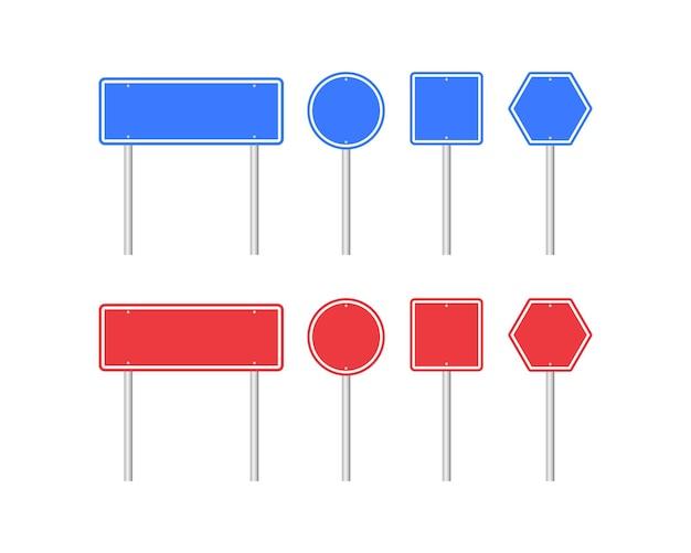 Sinais de trânsito em branco em duas cores. ilustração vetorial. eps 10