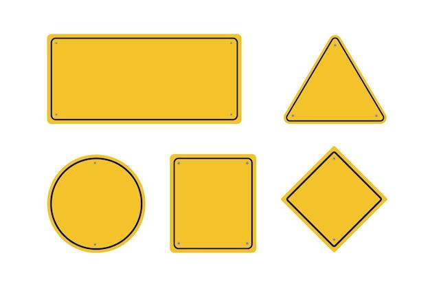 Sinais de trânsito em branco. sinais amarelos em branco.