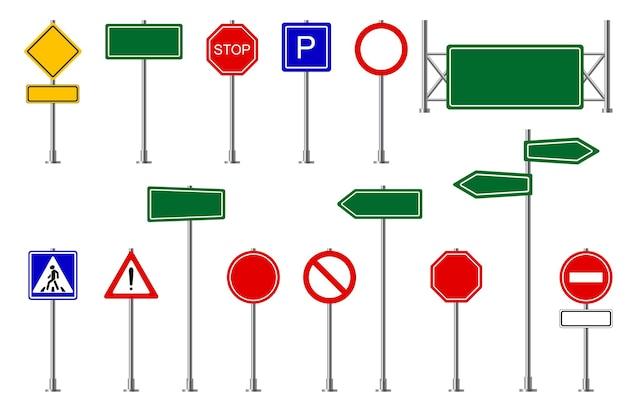 Sinais de trânsito rua e estrada rodovia símbolos