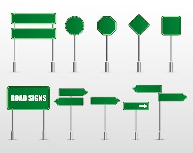Sinais de trânsito verde em branco ícones. modelos de sinais de trânsito de placa verde vetor para direção.