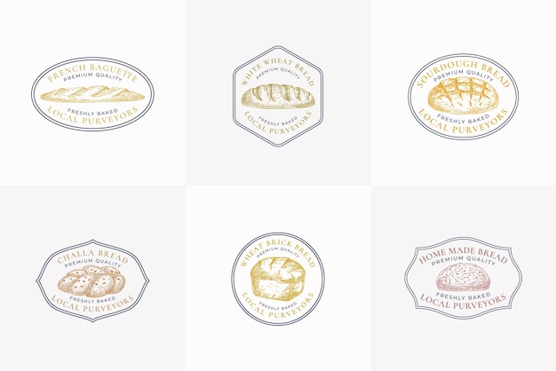 Sinais de vetor de pão de qualidade premium ou coleção de modelos de logotipo mão desenhada tijolo loafs challa e ba ...