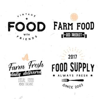 Sinais de vetor em estilo vintage no tema de comida