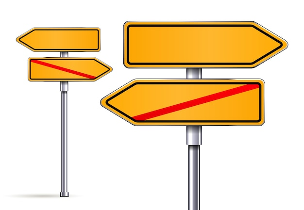 Sinais em branco apontando em direções opostas ilustração vetorial