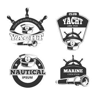 Sinais náuticos, etiquetas e emblemas.