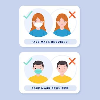 Sinais necessários de máscara facial