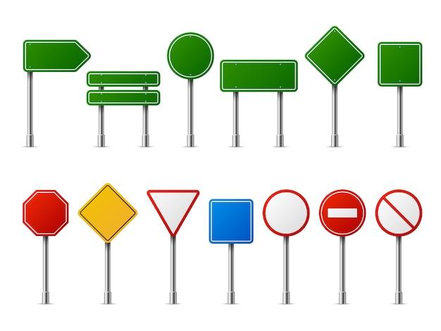 Sinais realistas de estrada de tráfego. sinal de sinalização aviso sinal parar perigo cuidado velocidade estrada vazio estacionamento placa de rua