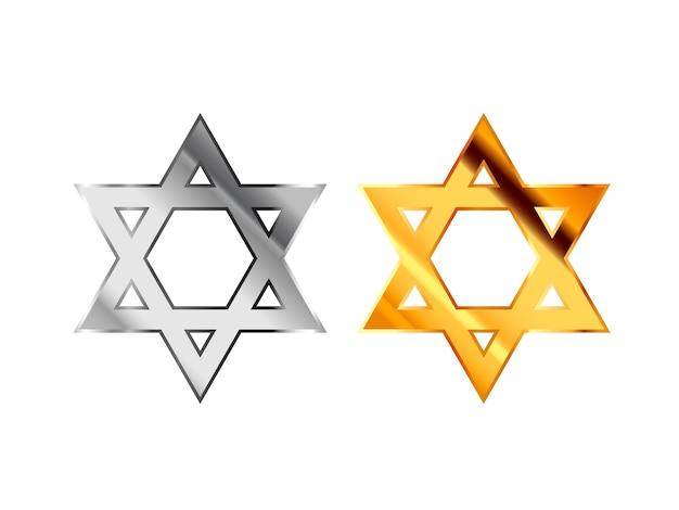Sinais religiosos do judaísmo feitos de prata brilhante e metal dourado sobre branco