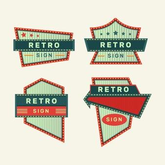 Sinais retrô e sinais de néon vintage coleção colorida