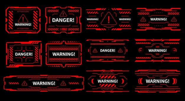 Sinais vermelhos de interface de perigo e alerta de atenção do hud