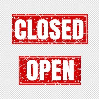 Sinal aberto e fechado fundo transparente