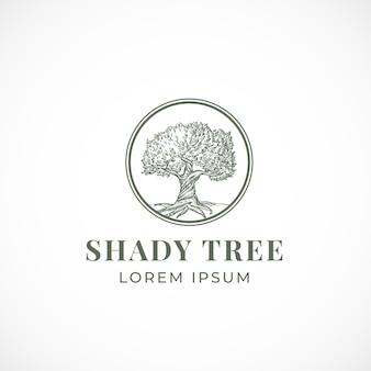 Sinal abstrato árvore sombreada, símbolo ou modelo de logotipo.
