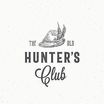 Sinal abstrato de clube de caçadores antigos, símbolo ou modelo de logotipo.