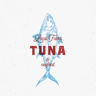 Sinal abstrato de frutos do mar, símbolo ou logotipo modelo com mão desenhada tuna fish vintage emblem.