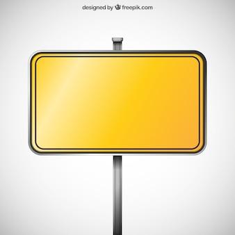 Sinal amarelo em branco