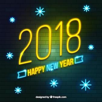 Sinal brilhante de neon de ano novo com flocos de neve