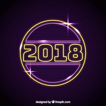 Sinal brilhante de néon do ano novo