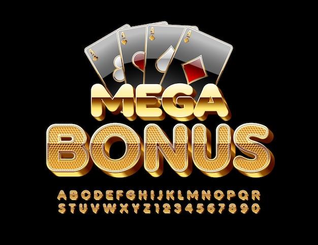 Sinal chique mega bônus com cartas de jogar. fonte de ouro texturizada. letras e números do alfabeto 3d elite