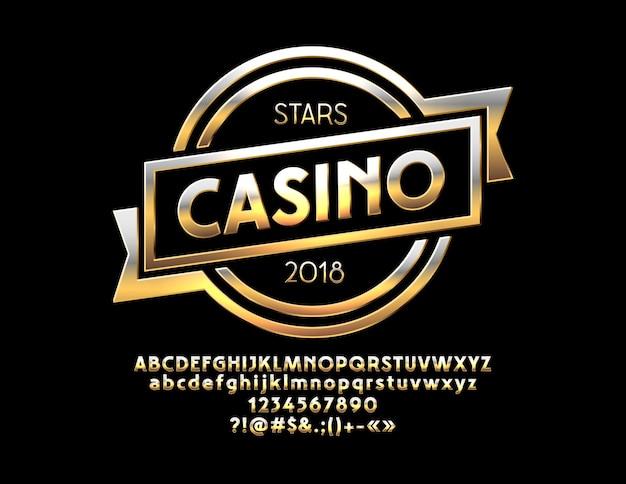 Sinal chique stars casino com letras do alfabeto elite e números chic gold fonte moderna