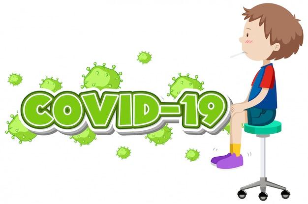 Sinal covid-19 com menino doente e ilustração de febre alta, coronavírus
