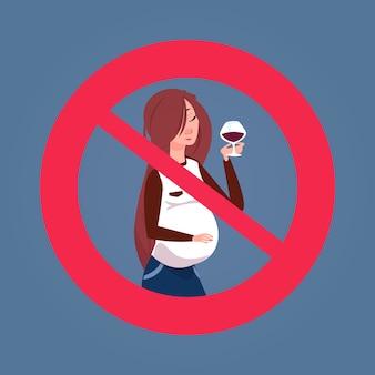Sinal cruzado com mulher grávida bebendo álcool