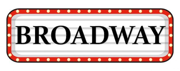 Sinal da broadway com quadro vermelho
