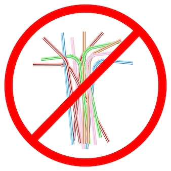 Sinal da recusa de canudos de plástico descartáveis