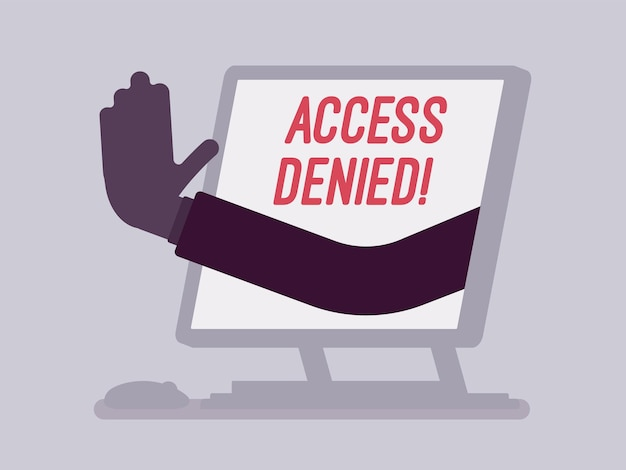 Sinal de acesso negado na tela do monobloco. mão do dispositivo mostrando que o usuário não tem permissão para arquivar, o sistema recusa a senha e a entrada de dados do computador, erro com sinal vermelho. ilustração vetorial