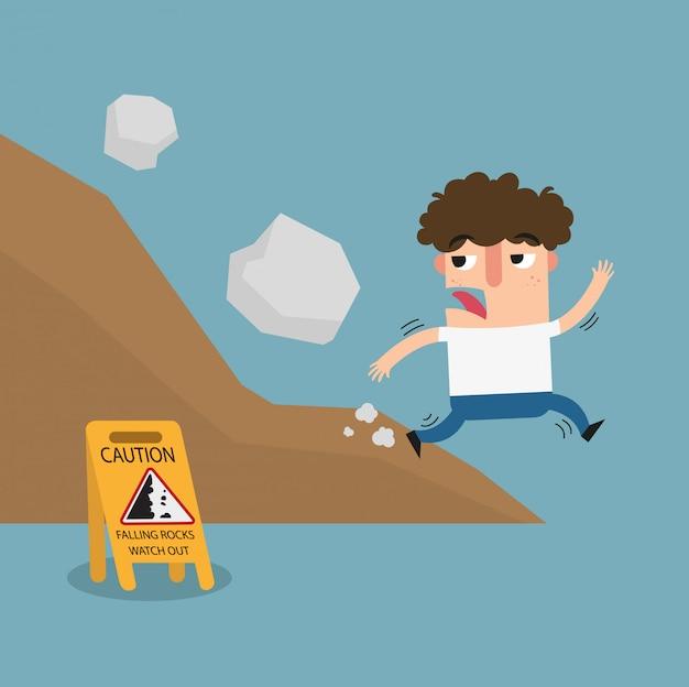 Sinal de advertência de pedra caindo