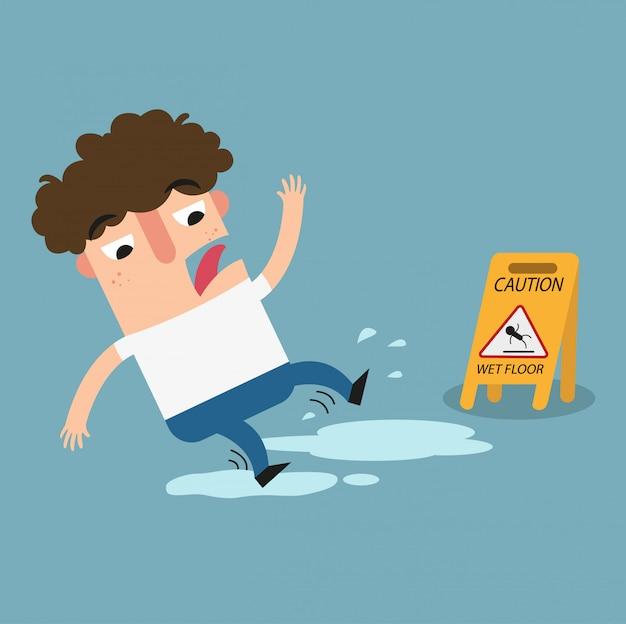 Sinal de advertência de piso molhado