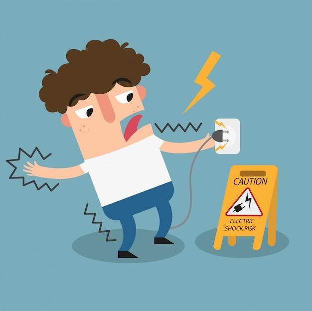 Sinal de advertência de risco de choque elétrico.