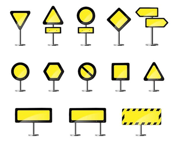 Sinal de alerta amarelo de estrada